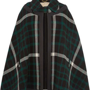 Burberry - Canvas-trimmed checked wool cape