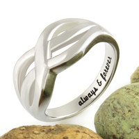"Couples Ring, Infinity Symbol Ring Double Infinity Ring ""Always And Forever"" Engraved"