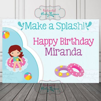 Pool Party Vinyl Banner / Pool Party Backdrop / Pool Birthday Vinyl Backdrop / Pool Birthday Backdrop