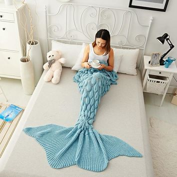 Solid Color Crochet Knitted Mermaid Blanket Scales Large Tail Sleeping Bags Bed Sofa Quilt With Feet For Adults Women Girls