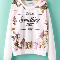 White Butterfly Graphic Print Knitted Sweater