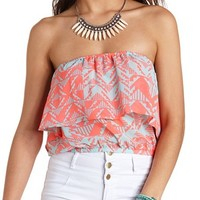 SHEER AZTEC PRINT FLOUNCE TUBE TOP