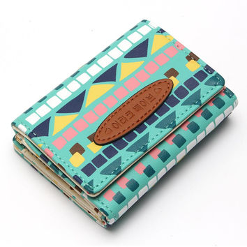 Korean Hit Color Lattice Small Clip Lady Brief Paragraph Purse Ladies Wallet Women Brand