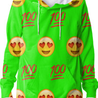 Lime Green/Emoji Hoodie created by trilogy-anonymous | Print All Over Me