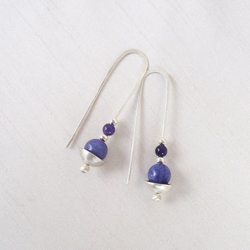 Sterling Silver and Semiprecious Stones Long Earrings - Blue Purple Indigo Violet, Silver Long Earrings - Contemporary Jewelry
