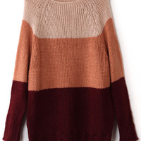 ROMWE | Color Block Thick Stripe Loose Jumper, The Latest Street Fashion