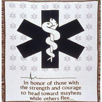 "Emergency Medical Services (emt) Afghan -  "" In Honor Of Those With The Strength And Courage To Head Toward Mayhem While Others Flee... """