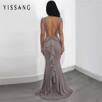 Yissang Red Backless Sexy Women Long Mermaid Dress Party Prom Floor Length Dresses Black Elegent Bowknot Summer Dress Vestido