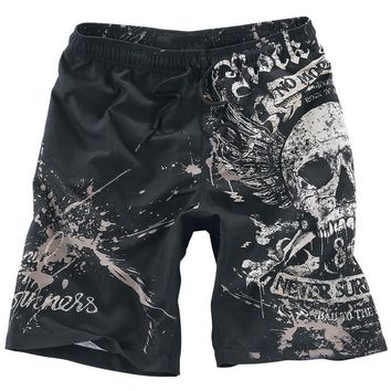 Male Skull Print Casual Short Pants Fashion Men's Casual   Beach Shorts Man