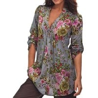 Women Vintage Floral Print V-neck Tunic bottom Tops Women's Fashion big Size Loose Tops Casual Shirt Blusas Femininas jf6
