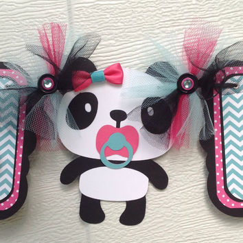 Panda baby shower banner, its a girl banner, teal chevron, hot pink and black with polka dots