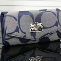COACH Woman shopping  hand bag Apricot Blue