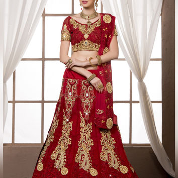 Women's Dupioni Raw Silk Fabric & Brick Red Pretty A Line Lehenga Style With Crystals Stones Work Dupatta