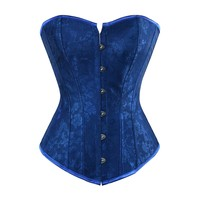 Blue,White, Black Damask Floral Collection Women's Corset