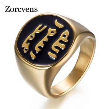 ZORCVENS 2018 Muslim Ring Islamic Shahada Turkey Quran Aqeeq Allah Middle Eastern Wedding Engagement Jewelry