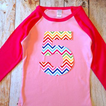 5 for 5th girls Birthday shirt fuchsia hot  Pink Raglan Rainbow Chevron Any Number Birthday 1 2 3 4 6 7 8 9 fifth five year old unicorn red