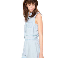 Light Blue Sleeveless Denim Romper