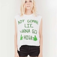 WANNA GET HIGH Ripped Muscle Tee