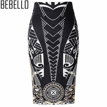2017 Elegant Gold Black Geometric Print High Waist Stretch Pencil Skirts Summer Midi Fahion Ladies Office Work Wear Saias S0703