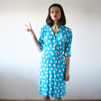 Blue dots 60's dress Polka dots Color block dress Office modern dress 60's (S/M)