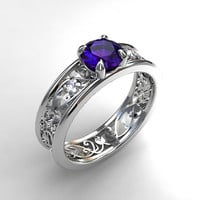Tanzanite engagement ring, white gold, filigree engagement ring, diamond ring, unique, purple engagement, genuine tanzanite