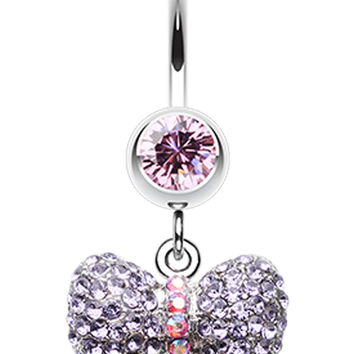 Lovely Sparkle Bow-Tie Belly Button Ring