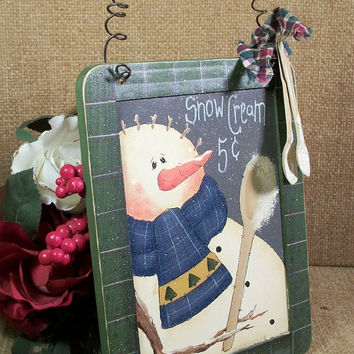 Snowman Wall Hanging Selling Snow Cream for 5 Cents Sign Handpainted Plaque Winter Scene Christmas Holiday Decor