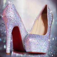 Sexy New Women's Platform Court Rhinestone Shoes