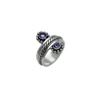 Moon Reflection Sterling Silver Amethyst Spinner Ring