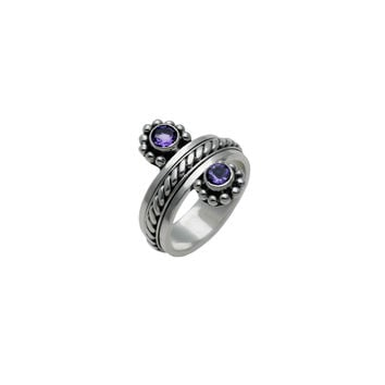 Moon Reflection Sterling Silver Amethyst Spin Ring