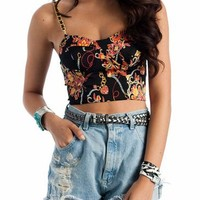 baroque chain link bustier $29.40 in BLACKRED - Crop Tops | GoJane.com