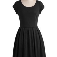 ModCloth LBD Mid-length Cap Sleeves A-line Be a Good Port Dress in Noir