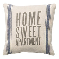 Home Sweet Apartment - Canvas Throw Pillow Blue Stripes 10-in