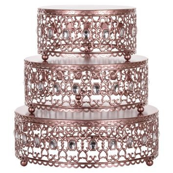 3-Piece Metal Cake Stand Risers Set with Crystal Rhinestones (Rose Gold)