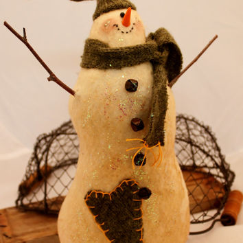 Snowman, Primitive Snowman with Recycled Wool Accents