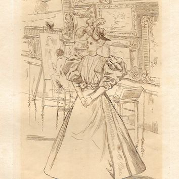 "Fine Lady's Fashion Print - c1860 - ""AT THE ART GALLERY"" - Duotint Copper Engraving"