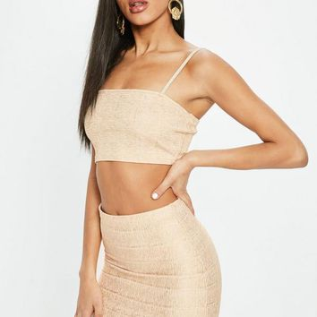 Missguided - Nude Bandage Ribbed Bralette