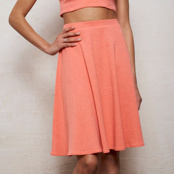 High Waisted Floaty Skater Skirt in Pastel Coral Pink