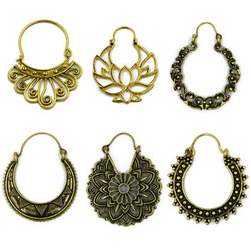 Brass Gold Tone Ornate Swirl Hoop Gypsy Indian Tribal Ethnic Earrings Boho Body Jewelry