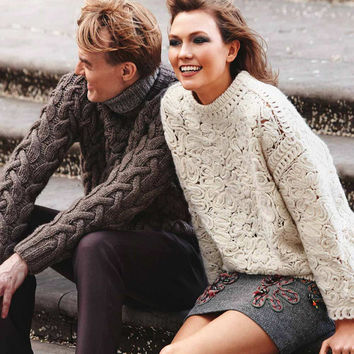 women sweaters and pullovers knitted sweater Long-Sleeve Crochet-Embroidered Sweater autumn/winter 2016 fashion brand clothing