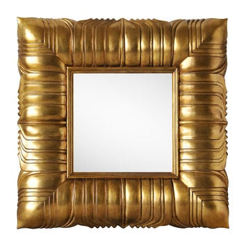 Mirrors, Overlapped Leaves Wall Mirror, Gold, Wall Mirrors