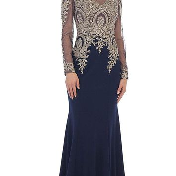 May Queen - Gold Lace Illusion Scoop Sheath Prom Dress