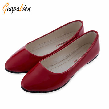 Guapabien New Spring Autumn Casual Ladies Flats Candy Solid PU Patent Leather Round Toe Flats Women Shoes Fashion Mulher Sapatos