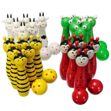 Wooden Bowling Ball Skittle Animal Shape Game For Kids Children Toy Red+Green+White+Yellow