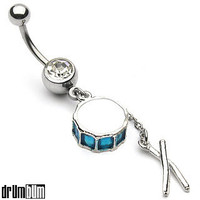 DRUM BUM: JEWELRY: CHARMS: Drum & Sticks Navel Ring, Belly Button Rings, Charm, drum charm drum set charm drum charms music gifts