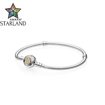 Starland Fine 925 Sterling Silver Snake Chain 14K Gold Pave Setting Charm Bracelet & Bangle Fit Original brand Jewelry 16cm-20cm