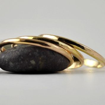 Solid Gold Rings Handmade Stack of Three 14k by DalkullanJewelry