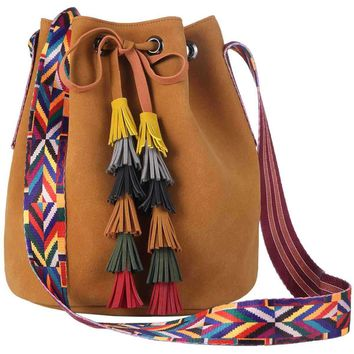 Guitar Strap Tassel Bucket Bag