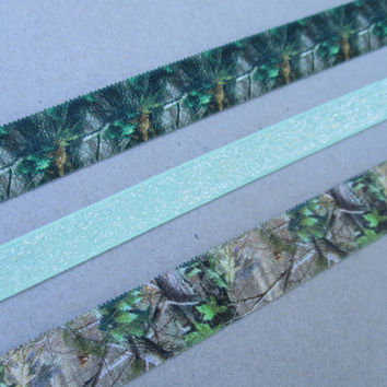 Camo Elastic Headbands Adult Teen Size Hunting Camouflage Hair Band Mint Green Glitter Stretchy Head Band Southern Country Girl Hunter