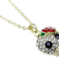 NECKLACE / LINK / METAL / CRYSTAL STONE PAVED / EPOXY / SKULL / 1 INCH DROP / 18 INCH LONG / NICKEL AND LEAD COMPLIANT / HALLOWEEN